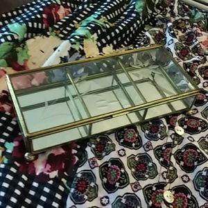 Jewelry - VINTAGE BRASS FOOTED TRINKET JEWELRY BOX